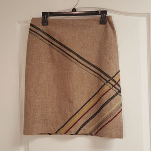 Express Tan Wool skirt with Faux Leather Lines